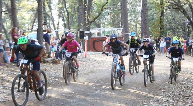 The advanced mountain bike race gets underway on Osborne Hill during Tuesday's Union Hill Invitational Mountain Bike Race.
