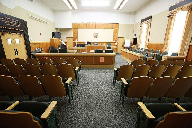 The Judge Frank D. Francis courtroom of the Nevada County Courthouse is one of the nicer courtrooms in the building. However, other rooms on the third floor have been condemned.