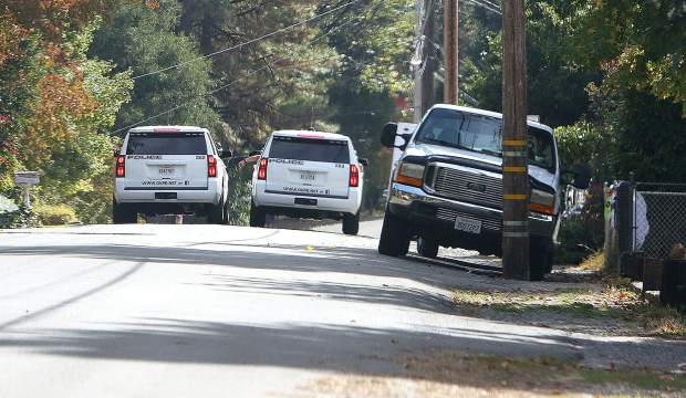 Grass Valley Police Department officers searched the area for the suspect in Tuesday afternoon's power pole hit and run on Alta Street.