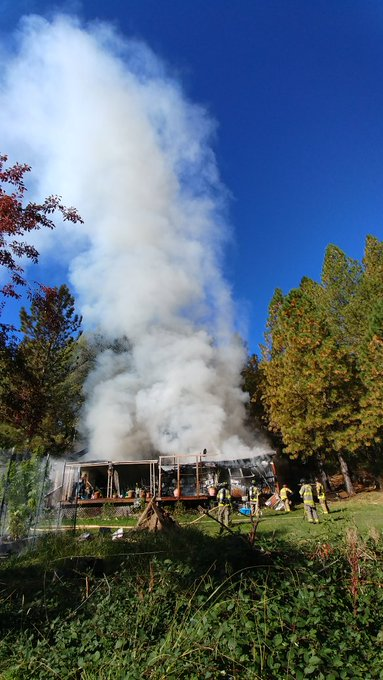 Structure fire off of Personeni Lane in Grass Valley Thursday, Oct. 10, 2019.