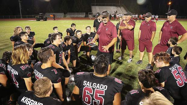 Bear River co-head coach Scott Savoie talks to his team after Friday night's blowout win.