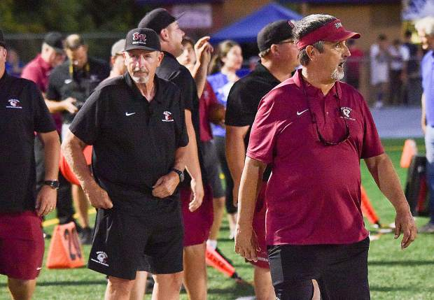 Bear River co-head coaches Terry Logue and Scott Savoie during a game against El Dorado earlier this season. Logue and Savoie have the Bruins off to a 5-0 start as they enter league play tonight.