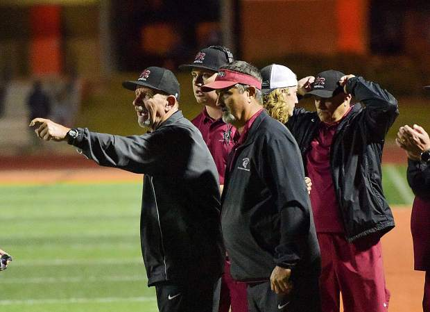 Bear River co-head coaches Terry Logue and Scott Savoie during a game against Foothill Friday night in Sacramento.