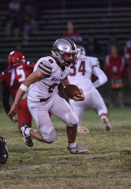 Bear River's Joe Knowlton runs the ball during a game against Lindhurst Friday night. Bear River won the game 42-14.