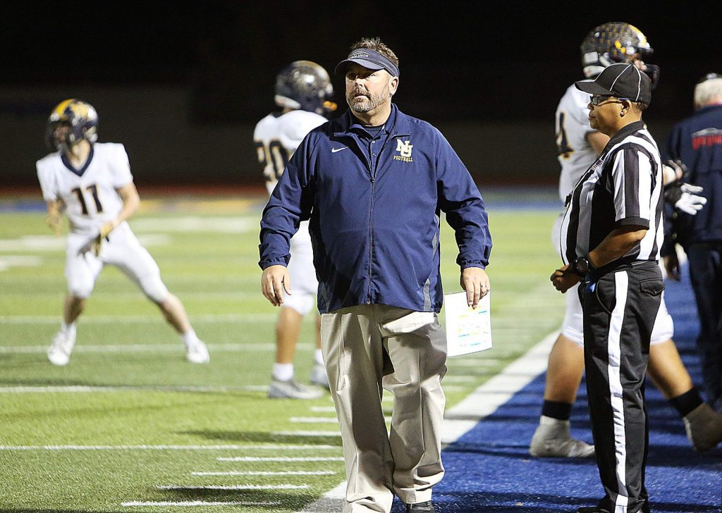 Nevada Union head coach Brad Sparks is seen here during last week's game against Lincoln. Sparks leads the 5-4 Miners into tonight's matchup with Rio LInda, the defending Division 5AA State champs.