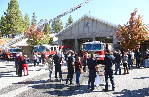 Saturday's wet down ceremony preceded the push in and utilized water from the fire engine it is replacing.