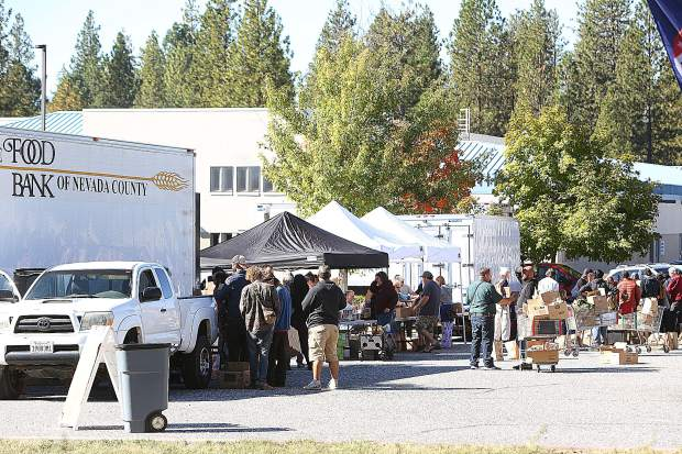 Hundreds took advantage of Thursday morning's Emergency Food Distribution hosted by the Food Bank of Nevada County during the PG&E public safety power shutdown.