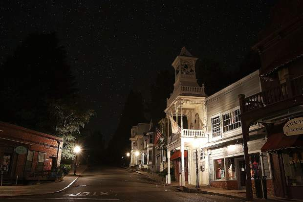 Gas street lamps helped to keep downtown Nevada City illuminated along Main Street during the public safety power shutdown.