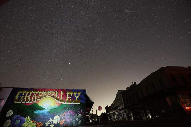 Star gazing was at an all time prime Wednesday night in downtown Grass Valley during the PG&E power shutdown.