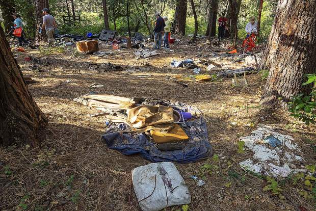 An abandoned homeless camp was among the areas cleaned up Saturday in Grass Valley's Glenbrook Basin, after a large scale effort by volunteers and members of western Nevada County government and law enforcement.