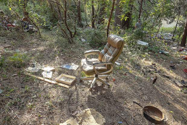 An office chair and other odd items were found in the abandoned camp on private property in the Glenbrook Basin.
