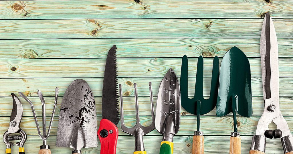 Row of gardening tools on wooden background
