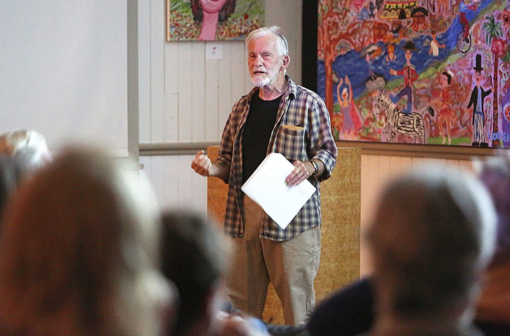 Local history buff, archaeologist and author Hank Meals talks about life in Northern California prior to the Gold Rush during the second installation of his 'Just Enough' history courses at the North Columbia Schoolhouse Tuesday evening.