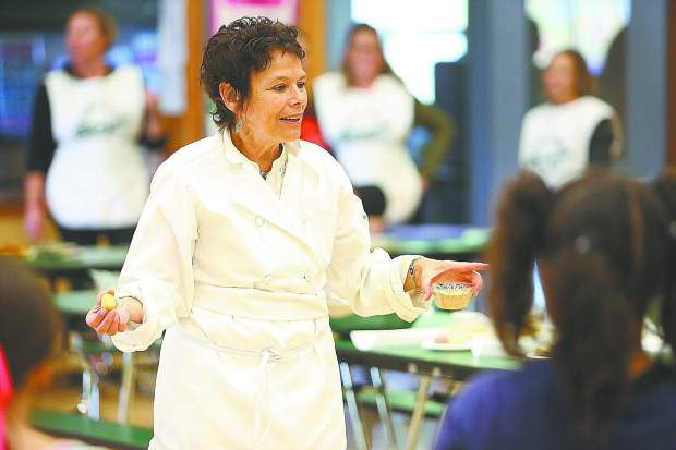 Sierra Harvest guest chef Susan Gilleran, along with other volunteers from Sierra Harvest, ready to provide a hands on cooking experience to a group of second graders at Chicago Park Elementary School Tuesday as part of their annual Tasting Days in Nevada County.