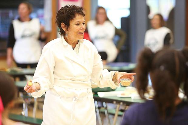 Sierra Harvest guest chef Susan Gilleran, along with other volunteers from Sierra Harvest, came ready to provide a hands-on cooking experience to a group of second graders at Chicago Park Elementary School Tuesday as part of their annual Tasting Days in Nevada County.