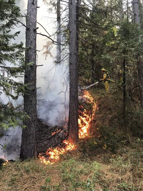 Firefighters from Grass Valley, Nevada City, Cal Fire and Nevada County Consolidated responded to a fire off Brunswick and Idaho-Maryland roads Tuesday morning.