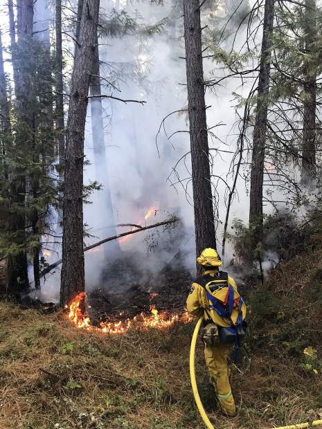 Firefighters from Grass Valley, Nevada City, Cal Fire and Nevada County Consolidated responded to a fire off Brunswick and Idaho Maryland roads Tuesday morning.