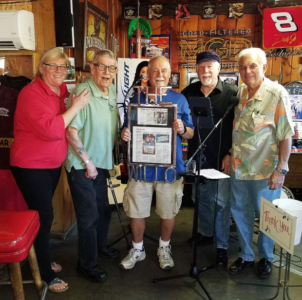 From left, Willo co-owner Nancy Wilson, former owner Ken Heibert, co-owner Mike Byrne, and friends Steve Woolsey and Ken Holbrook celebrated the restaurant's 50th anniversary Sunday.