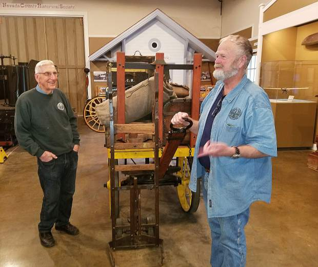 Nevada County Narrow Gauge Railroad and Transportation Museum Director John Christensen, right, and docent Bud Paul enjoy sharing Nevada County's transportation history with museum guests.