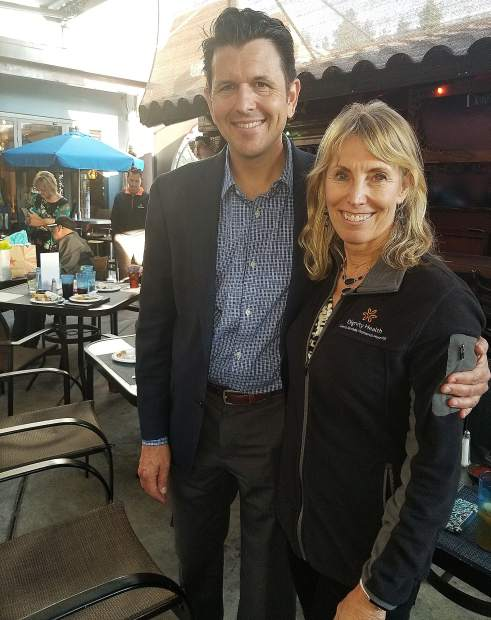 At a party last week, Dignity Health Sierra Nevada Memorial Hospital President/CEO Brian Evans shared best wishes – along with 40 other friends and admirers – with Deb Plass as she steps down as the hospital's Vice President of Marketing and Business Development.