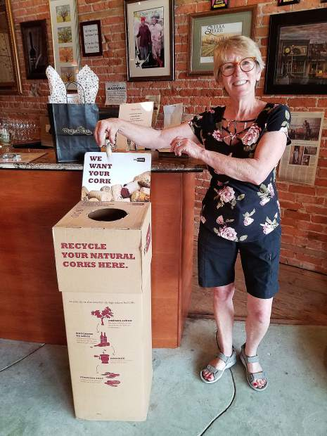Corks are recycled at the Sierra Starr Winery Tasting Room, then ground up and turned into sandal soles.