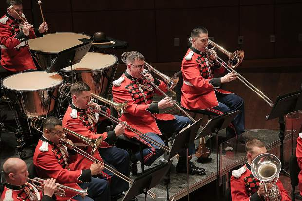On March 19, 2015, the Marine Band performed at Messiah College in Mechnicsburg, Pa. The program, conducted by Lt. Col. Jason K. Fettig, included music by Samuel Jones, David Conte, Maurice Ravel, Bernard Hermann, John Philip Sousa, and John Williams. The concert was a part of the National Trumpet Competition and also featured guest soloist John Rommel performing David Gillingham's When Speaks the Signal-Trumpet Tone. (U.S. Marine Corps photo by Gunnery Sgt. Amanda Simmons/released)