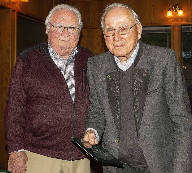 From left, Rudy Cisar and Rolf Laessig, the latter of whom was honored Sunday by the Nevada County HIstorical Society.