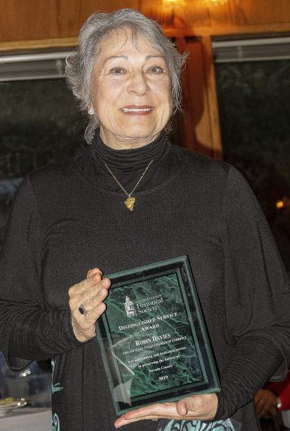 The Distinguished Service Award was given by the Nevada County Historical Society to Robin Davies, with the Greater Grass Valley Chamber of Commerce.
