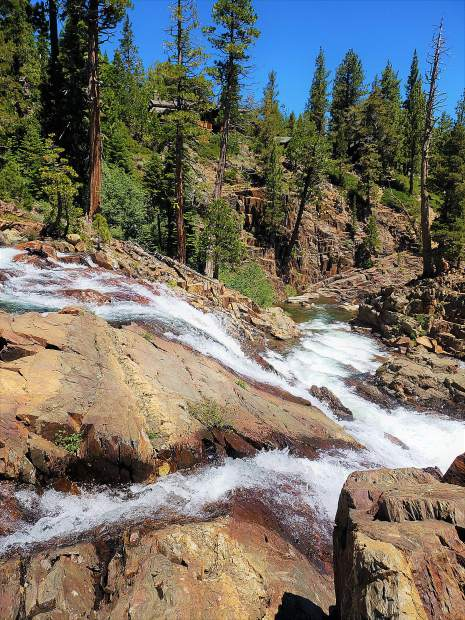 Lower Glen Alpine Falls are a scenic stop on your way to the trail itself.