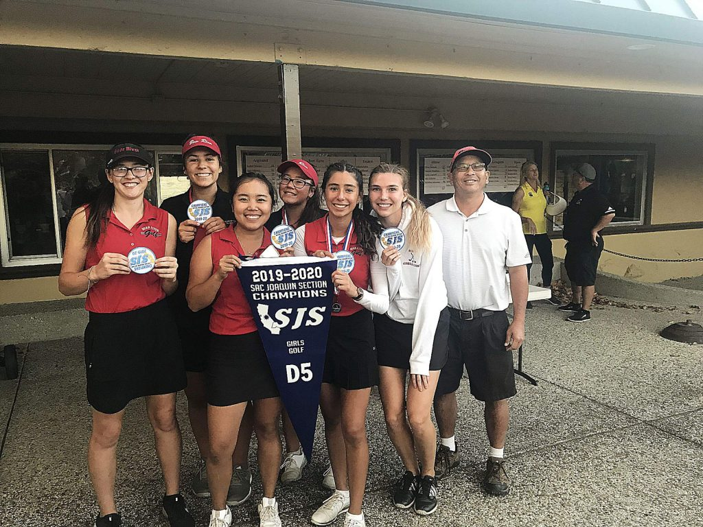 Bear River's girls golf team successfully defended its Division V crown on Oct. 21 at Auburn Valley Country Club. The Lady Bruins finished atop the team leaderboard with a 5-player score of 483, which was five points better than second place finisher Ripon.