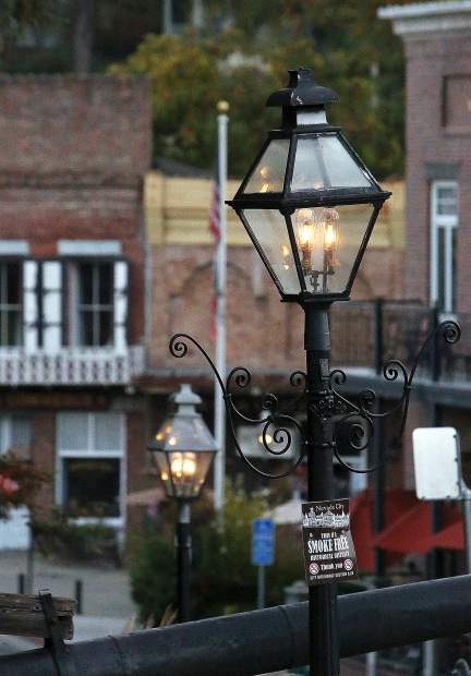 The gas powered street lamps kept some light on in downtown Nevada City.