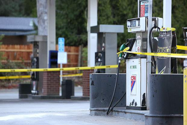 The pumps at the Gold Flat Chevron were blocked off with emergency tape as were many of the western Nevada County Gas Stations during Wednesday morning's PG&E PSPS.