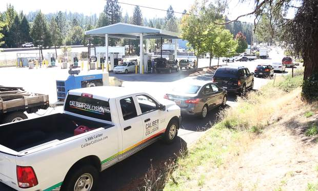 The line for gas stretched around to Nevada City Highway from the Robinson gas station off of Lower Grass Valley Road in Nevada City Wednesday afternoon.