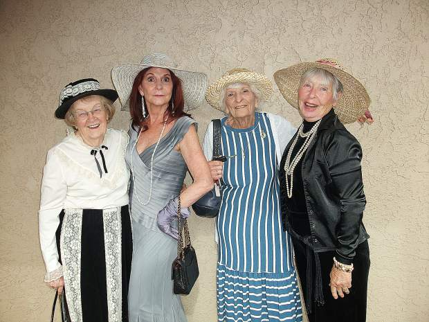 Goldancer ladies Mary Carrell, Cheryl Lund, Jean Reynolds and Lora Esry enjoy dressing up for the Downton Abbey movie.