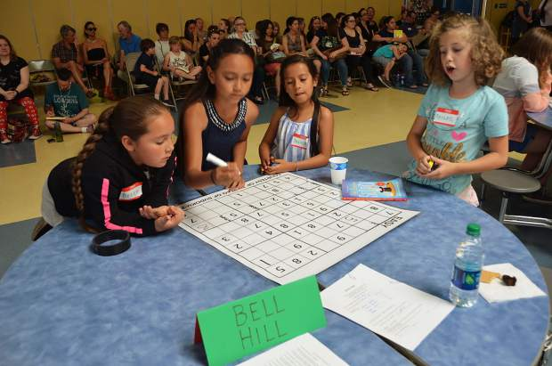 A team from Bell Hill Academy in the Third Annual Children's Team Sudoku Tournament. Left to right: Belen Corin, Natalia Aguilera, Jackie Aguilera, Abigail Nocerino.