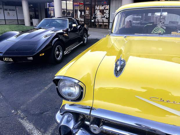 Beauties in front of the Fish and Chip shop at SPD shopping center Grass Valley.