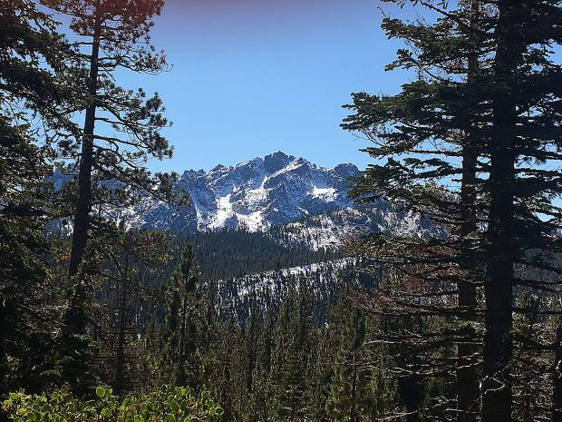 First snow on the Sierra Buttes from Gold Lake Road.