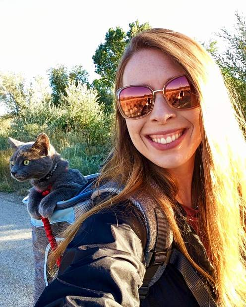 My Granddaughter Emily with furry friend in tow, on a stroll.