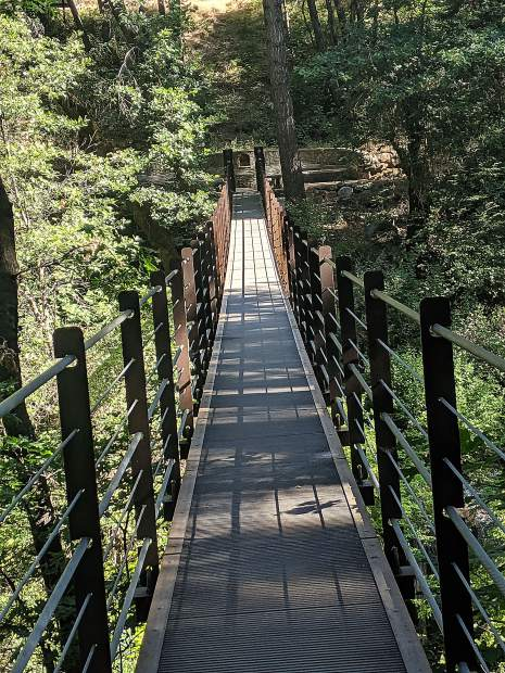 This spectacular suspension bridge is located on Deer Creek Tribute Trail in Nevada City, CA. Hikers can smell the incence cedars, hear the delightful sounds of local wildlife, and appreciate the beauty of the area along the Deer Creek Tribute Trail in Nevada City, CA.