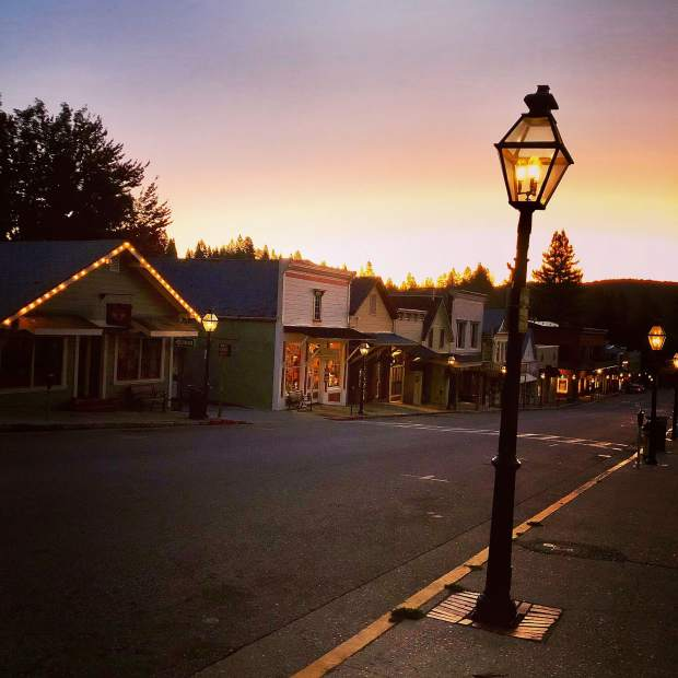 Early fall morning on Broad St. Nevada City.
