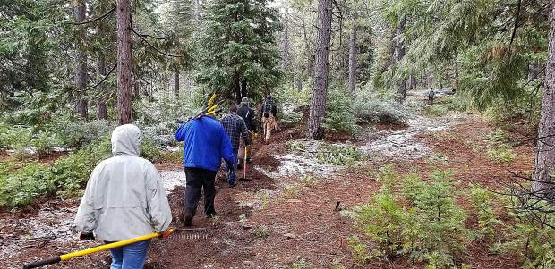 Prepping a new trail from the Omega Lookout to be finished on United Trails Day (October 12) with Nevada County Woods Riders, Bicyclists of Nevada County, Gold Country Trails Council and our local Forest Service.