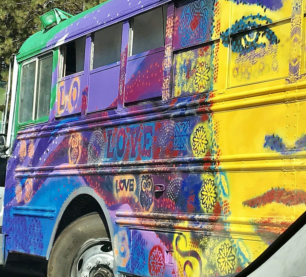 Detail of a painted bus on Sierra College Drive in Grass Valley.