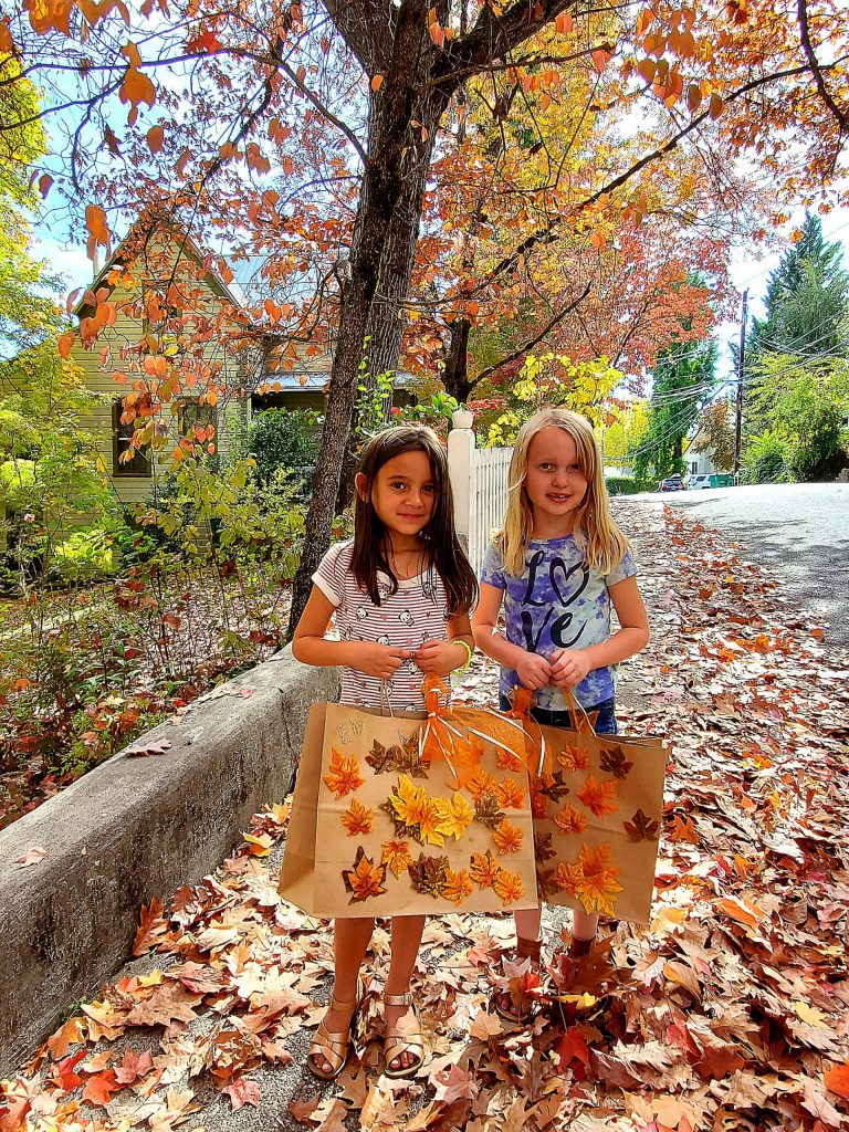 A fall leaves play date among friends in Nevada City.