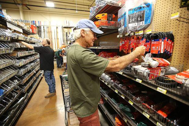 Grass Valley's Tom Vasgird was happy that he bought his generator last year. He went shopping at Hills Flat hardware store to stock up on extension cords and other goods in advance of the potential PG&E power shutdown. Vasgird's household was without power for five days during the previous shutdown.