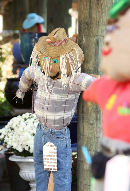 A scarecrow made by Alexia Davis awaits a buyer at Weiss Brothers Nursery in Grass Valley, where the Seven Hills Middle School scarecrows sold to benefit Heifer International were displayed.