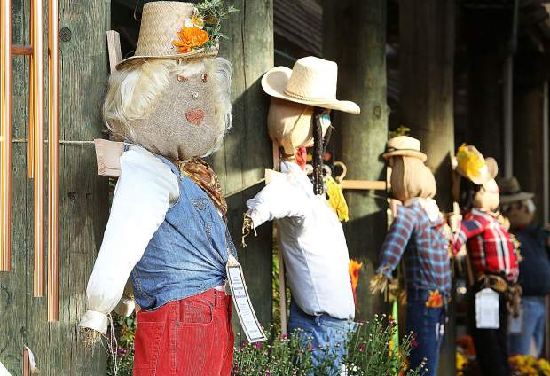 A row of Seven Hills Middle School scarecrows are displayed and ready for purchase at Weiss Brothers Nursery in Grass Valley Tuesday afternoon.