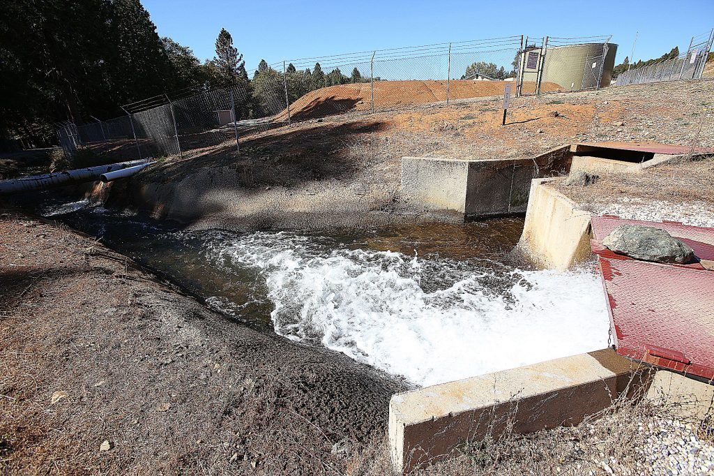 Treated NID water leaves a pumping plant off Loma Rica Road in Grass Valley Wednesday, headed for Alta Sierra and Lake of the Pines residents. NID generators have provided seamless water delivery to customers amid the PG&E shutdown.