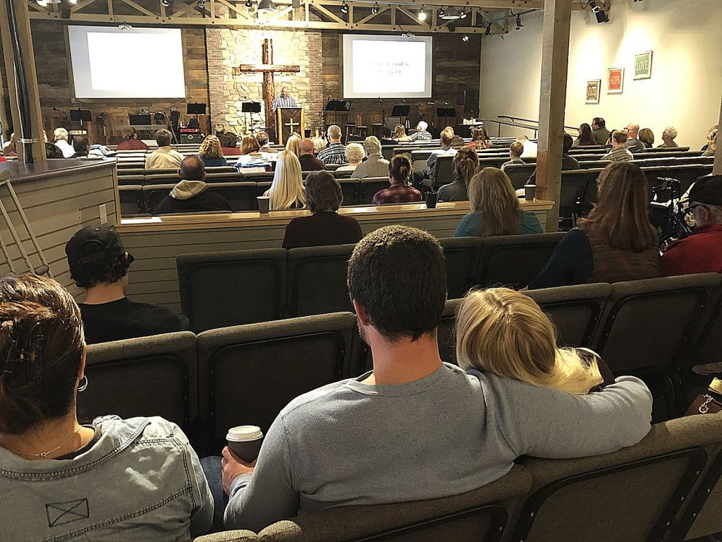 Church goers attended the 9:30 a.m. service at Grass Valley's Simple Truth Church on Sunday. The church had power, despite many enduring a blackout through the weekend.