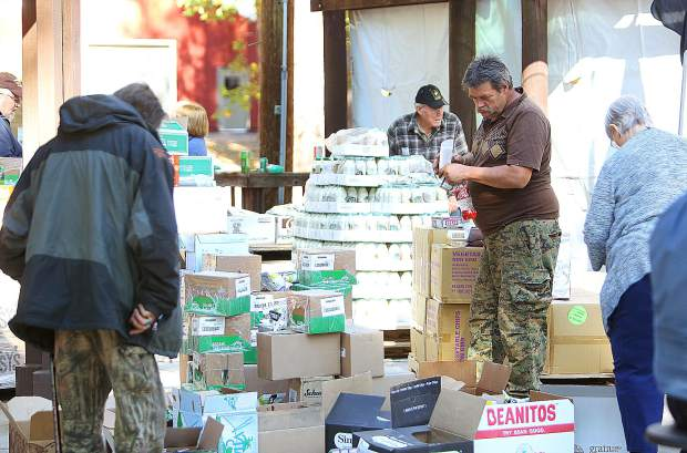 Pallets of food donated by the Food Bank of Nevada County were made available for those veterans and their families in attendance. More food will be made available during the event today.