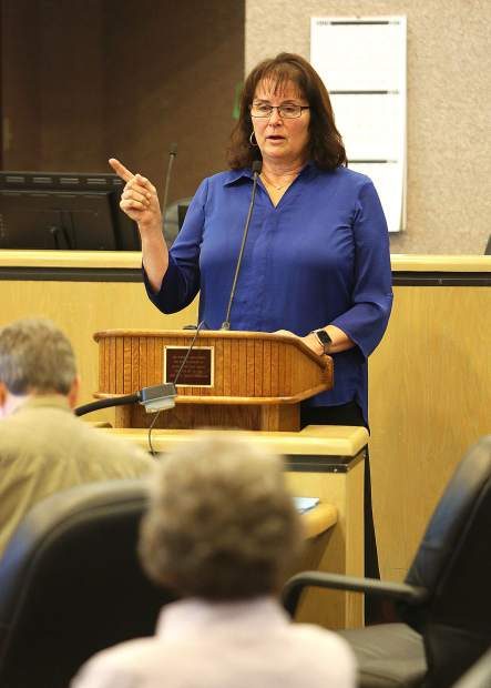 NID Division 1 Director Ricki Heck provided updates for questions regarding projects affecting her division during Thursday's town hall meeting a the Rood Government Center.